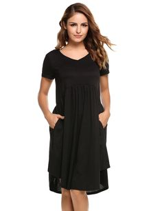 Black Solid Draped Casual Loose Tunic Pockets Dress