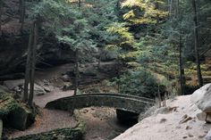 Looking down on one of the bridges at the Old Man's Cave trail