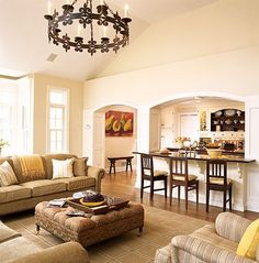 Large Kitchen with arched pass-through to living room ---Match the arch from the dining room to livingroom. Description from pinterest.com. I searched for this on bing.com/images