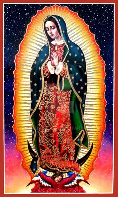 "Our Lady of Guadalupe © Cecilia Lawrence December 2015 18 x 30 inches 44 Hours Acrylic on Wood ""What 'neath her heart does Mary bear? Our Lady of Guadalupe - St. Religious Tattoos, Religious Art, Maria Tattoo, Lady Guadalupe, Queen Of Heaven, Mama Mary, Chicano Art, Holy Mary, Blessed Virgin Mary"