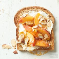 Ricotta Cheese + Peach Slices + Sliced Almonds + Honey