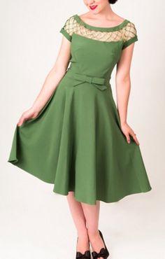 605d0dcfdcf5 Tatyana Alika Circle Green Retro Dress Vintage Sko