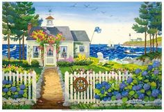 size: Giclee Print: The Captain's Seaside Cottage by Robin Wethe Altman : This exceptional art print was made using a sophisticated giclée printing process, which deliver pure, rich color and remarkable detail. Maine Cottage, Beach Cottage Style, Cottage Art, Beach Cottage Decor, Beach House, Nantucket Cottage, Cottage Design, Cottage Living, Coastal Cottage