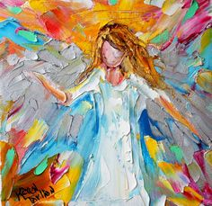 Original oil painting Angel of Love palette knife by Karensfineart