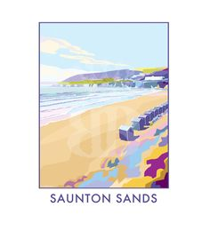 Saunton Sands vintage style travel poster and seaside print forms part of the British Coastlines travel art collection. Created by Devon Artist Becky Bettesworth. Posters Uk, Railway Posters, Retro Posters, Seaside Towns, Coastal Art, Vintage Travel Posters, Art History, 1930s, Britain