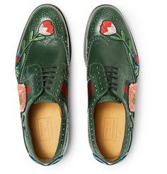 Gucci - Appliquéd Leather Wingtip Brogues