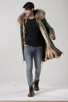 YVES SALOMON Rabbit Fur-Lined Parka with Coyote Fur Hood Trim ...