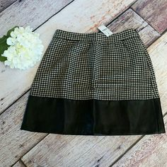 J.Crew factory faux leather trim skirt houndstooth Black and ivory  Sorry, NO TRADES J. Crew Skirts