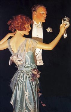 J.C. Leyendecker  The way he does hair is the most amazing part I think. American Illustration, Art Et Illustration, Illustrations, Art Vintage, Vintage Ads, Vintage Posters, Vintage Romance, Vintage Prints, Art Deco
