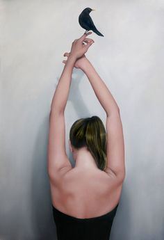 black - woman with bird - figurative painting - Amy Judd