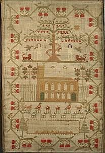 18th C Adam & Eve Sampler Lavinia S Axworthy; unusual Adam and Eve sample with a church in the foreground.