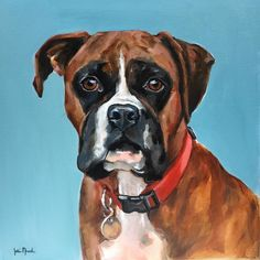 Love painting me some Boxers! My latest commission: Oil on canvas #boxers #boxer…