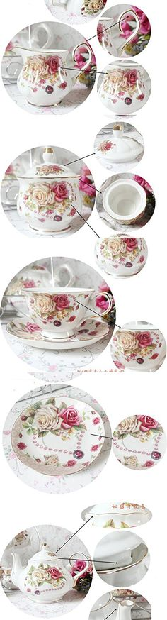 European Bone China,Rose Printed Ceramic Porcelain Tea Cup Set With Lid And Saucer,metal holder in the picture is not included