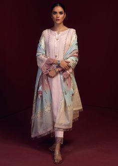 NIHAAL – LAAM Designer Punjabi Suits, Pakistani Designers, Cotton Silk, Cotton Fabric, Heavy Dupatta, Pakistan Fashion, Party Dresses For Women, Pink Fabric, White Outfits