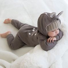 There is nothing cuter then @harlenbodhiwhite sleeping in a bambi suit! 😍