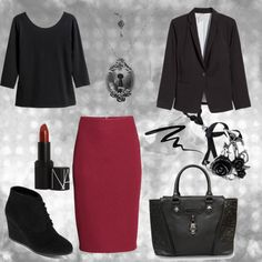 A fashion look from August 2015 featuring sleeve tops, plus size blazers and pencil skirts. Browse and shop related looks. Edgy Work Outfits, Gothic Outfits, Cute Outfits, Work Fashion, Diy Fashion, Fashion Sets, Office Attire, Office Outfits, Corporate Goth