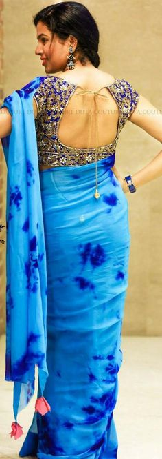 Satin crape silk sarees with contrast blouse