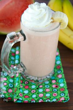 Banana Watermelon Smoothie from Miss in then Kitchen #ChiquitaCookingLab #sponsored