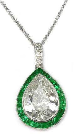 1.70ct Art Deco Platinum Diamond and Emerald Pendant | New York Estate Jewelry