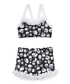 New black and white chevron overlay lace with silver foil half top with booty short set