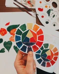 """Tanja von Die Handletterei on Instagram: """"#watercolorlove #farbharmonie ✨ >>> #farbkreisnachitten > Arbeitest du mit einem #farbkreis oder anderen Tools um zu einer tollen Farbkombi…"""""""