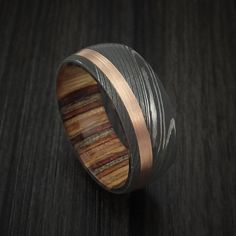 Damascus Steel and 14k Rose Gold Ring with Hazelbut Hardwood Sleeve Custom Made Band