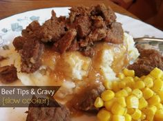Sugar for Breakfast: Beef Tips & Gravy {slow cooker} Healthy Crockpot Recipes, Beef Recipes, Cooking Recipes, Crockpot Meals, Freezer Meals, Cooking Ideas, Yummy Recipes, Crock Pot Beef Tips