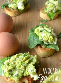 Swapping an avocado for mayonnaise gives this egg salad a lighter taste and you can't even taste the avocado! We love the pretty green color, too.