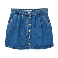 Buttoned Denim Skirt ($24) ❤ liked on Polyvore featuring skirts, bottoms, clothing - skirts, denim skirt, blue denim skirt, button skirt, button-front denim skirts and blue skirt