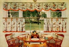 Early American kitchen, Pinch-pleat cafe curtains on brass window fittings. (Via Retro Renovation. Kitchen Curtain Designs, Vintage Kitchen Curtains, Kitchen Curtains And Valances, Country Kitchen Curtains, Vintage Curtains, Cafe Curtains, Valance Curtains, Kitchen Country, Double Curtains