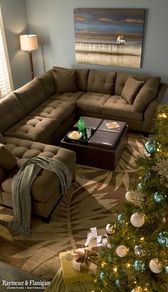 Our guests will certainly be cozy on a big sectional like this! A perfect place to gather on Christmas morning to open gifts!