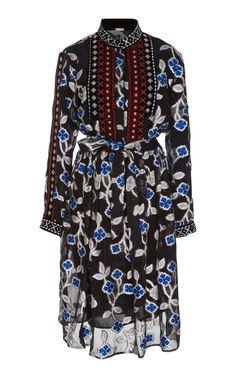 DODO BAR OR Loren Velvet-Trimmed Floral Chiffon Dress