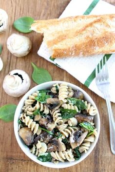 Creamy Goat Cheese Pasta with Spinach & Mushrooms