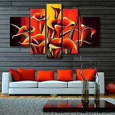 E-HOME® Stretched Canvas Art Flower Decorative Painting Set of 5 - USD $ 160.99