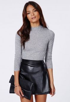 Pull manches longues en jersey à col roulé Eleanor gris chiné