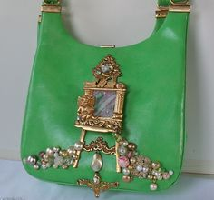 Decorate a vintage handbag with your broken jewelry creations.