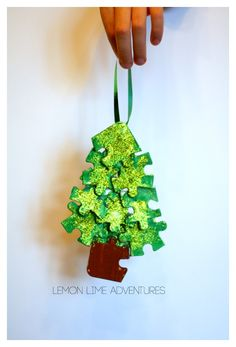 Recycled Ornament from Recycled puzzle pieces | Awesome Upcycled Christmas Ideas Kids can Make!