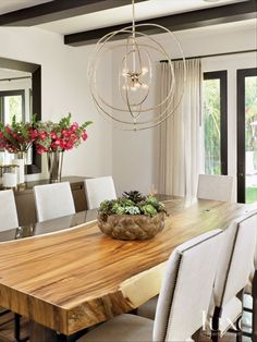 Contemporary Walnut and Bronze Dining Room