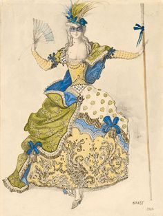 Léon Bakst (1866-1924). Sleeping Princess, Costume design for Good Fairy, 1921. Watercolor and pencil, highlighted with gold paint. Uncatalgued designs. Gift of Frederick R. Koch, 1984.