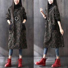 Spring new fashion floral long sleeve plus velvet cotton dress Knit collar lady dress