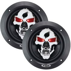 "Boss Audio Sk553 Phantom Skull Series 3-Way Black Injection Cone Speakers With Custom-Tooled Removable Skull Covers (5.25"")"