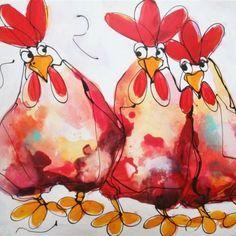 Dit keer twee knusse kippen en een minder blije derde. Grappig dynamisch schilderij waar de kippen in vooral rode kleuren afsteken tegen een witte achtergrond. Een alternatief als een rechthoekig doek niet goed zou staan.