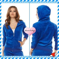 """❤️SOLD❤️{Juicy Couture} Blue Velour Hoodie ❤️SOLD❤️HPNWT Juicy Couture royal blue velour hoodie give a modern look w/fashionable comfort! Poly/Cotton/Machine Wash.  *M 8-10 *Matching jogger pants available to purchase & bundle! *Rhinestone """"J"""" zipper pull, zip front, ribbed trim *Poly/cotton/machine wash *Bundle discounts, Smoke-free, No Trades Juicy Couture Tops Sweatshirts & Hoodies"""