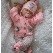 Knitting Pattern with Mouse Motif suitable for Month Baby, Doll Baby Knitting Free, Baby Boy Knitting Patterns, Knitted Doll Patterns, Baby Patterns, Knitted Baby Clothes, Baby Doll Clothes, Baby Dolls, Baby Layette, Baby Cardigan