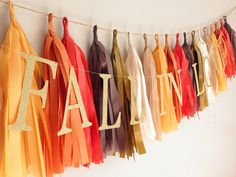 Fall in Love 21 Tassel Garland || Brown, Burnt Orange, Harvest Gold, Cinnamon, Tan, Cream and Gold || Party, Wedding, and Home Decor by CharminglyKristin on Etsy