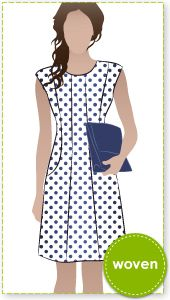 Patti Woven Dress - pattern form Style Arc - A fitted panel dress with an extended shoulder it is sew stylish.