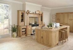 Burbidge's Petworth Kitchen in Natural Oak - Mantel Shelf, Cupboards, Drawers, Island, Breakfast Bar, Pantry