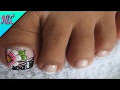 DECORACIÓN DE UÑAS PARA PIES FLOR Y FRANCÉS♥ - FLOWERS NAIL ART - FRENCH NAIL ART - NLC - YouTube Toe Nail Art, Toe Nails, Beautiful Toes, Nail Art Designs, Manicure, Lily, Beauty, Pedicures, Youtube