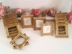 Weddings11 Gold Ornate Framed Table Numbers Table by TheBoxedPearl