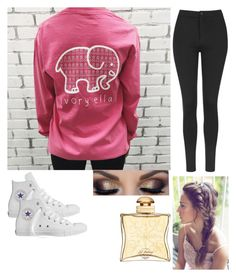 """Ivory Ella"" by gorgeousbluejay ❤ liked on Polyvore featuring Topshop, Converse and Hermès"
